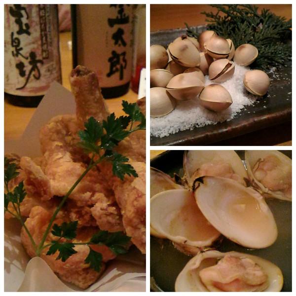 大きなマスに入った鶏のから揚げ、はまぐり、銀杏